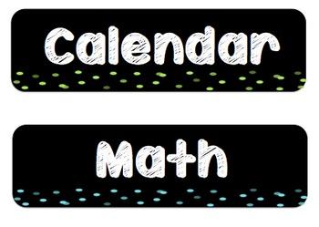 Chalkboard Neon Classroom Schedule Labels