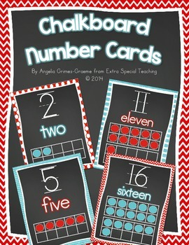 Chalkboard Number Cards 0 - 20