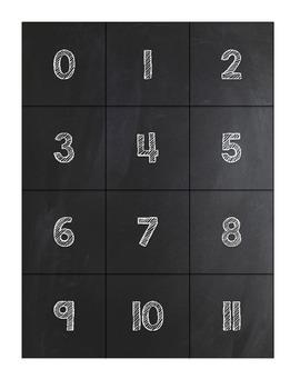 Chalkboard Number Labels 0 - 35
