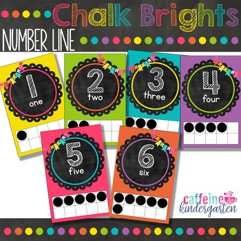 Chalkboard Theme Decor Bright Number Line Black and Bright