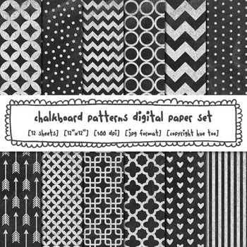 Chalkboard Patterns Digital Paper, Chevron, Stripes, Polka