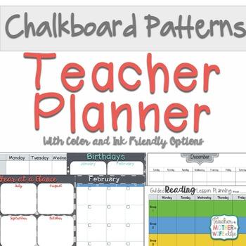 Chalkboard Patterns Teacher Planner