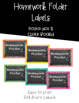 Chalkboard & Polka Dot Homework Folder Labels