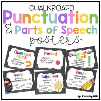 Chalkboard Punctuation & Parts of Speech Posters