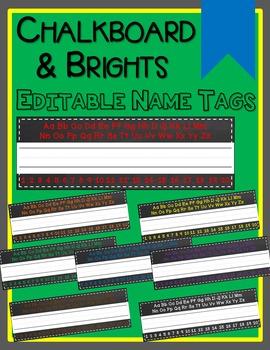 Chalkboard & Rainbow Desk Name Tags (Editable)