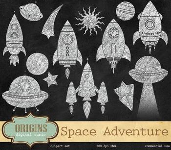 Chalkboard Rockets Space Clip Art