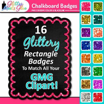 Chalkboard Frame Clip Art {Rectangle Rainbow Glitter Label