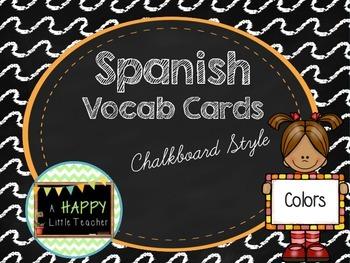 Chalkboard Spanish Vocab Cards - Colors
