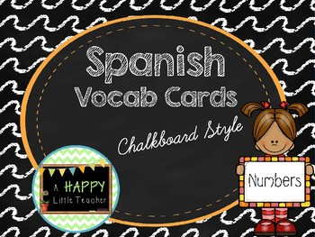 Chalkboard Spanish Vocab Cards - Numbers 1-10