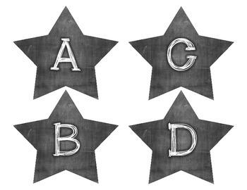 Chalkboard Star Alphabet - Word Word Wall