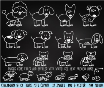 Chalkboard Stick Figure Pets Clipart Clip Art, Stick Family Pets