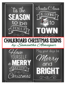 Chalkboard Style Christmas Signs