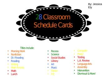 Chalkboard Style Schedule Cards