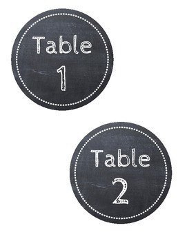 FREE Chalkboard Table Number Labels with Chalk Font