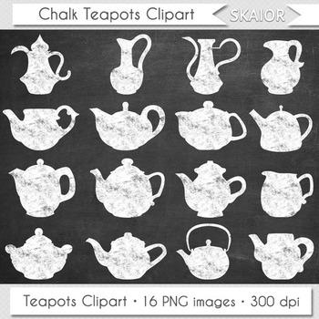 Chalkboard Teapots Clipart Tea Time Clip Art Kitchen Appli