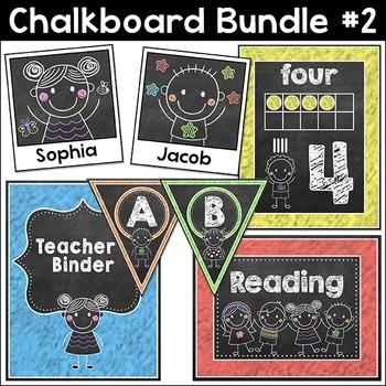 Chalkboard Theme Bundle #2 - Name Tags, Binder Covers, Bun