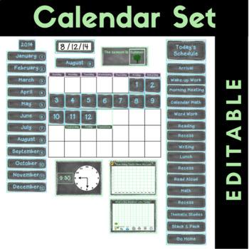 Calendar Set {Editable} Chalkboard Theme