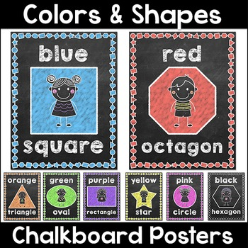 Chalkboard Theme Colors and Shapes Posters