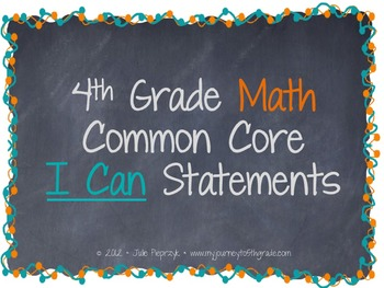 Chalkboard Theme Common Core I Can Statements- Math- 4th Grade