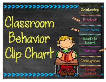 Chalkboard Themed Behavior Clip Chart