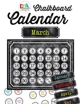 Chalkboard Themed Calendar Materials