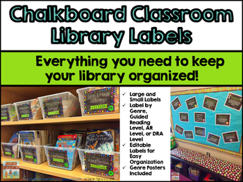 Chalkboard Themed Classroom Library Labels
