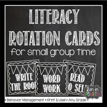 Literacy Rotation Cards Chalkboard Themed