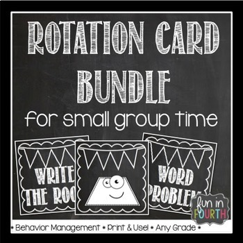 Literacy and Math Rotation Card Bundle Chalkboard Themed