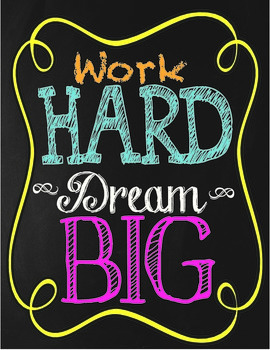 Chalkboard Themed Work Hard Dream Big Poster