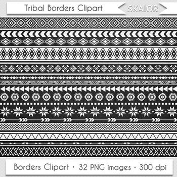 Chalkboard Tribal Borders Clipart Geometric Native America