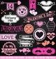Chalkboard Valentine's Day Stamps Clipart Clip Art, Chalk