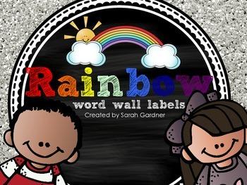 Chalkboard Word Wall Labels {Rainbow}