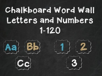 Chalkboard Word Wall Letters and Numbers 1-120 with Teal a