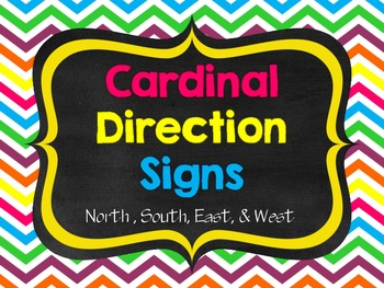 Chalkboard and Bright! Cardinal Direction Signs with Compass Rose