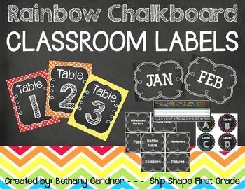 Chalk it Up! Rainbow Chalkboard Classroom Labels
