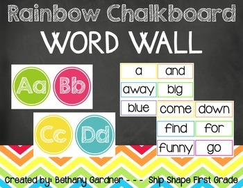 Chalk it Up! Rainbow Chalkboard Word Wall Elements
