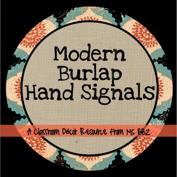 Chalkboard and Burlap Hand Signals {EDITABLE}