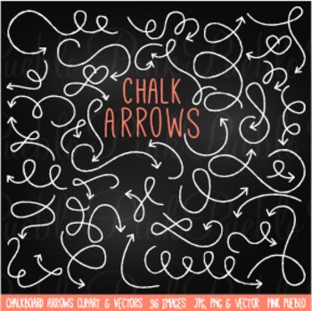 Chalkboard and Chalk Arrows Clipart Clip Art - Commercial