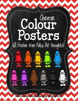 Chalkboard and Chevron Colour Posters {Freebie}