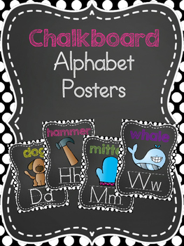 Chalkboard and Polka Dot Alphabet Posters