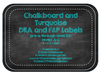 Chalkboard and Turquoise DRA and F&P Labels