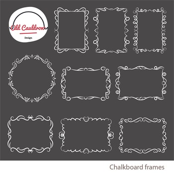 Chalkboard curly frames clipart, vector graphics CL026