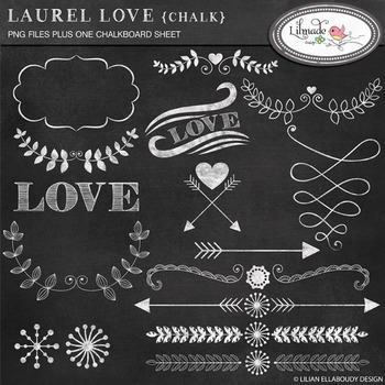 Chalkboard hearts, arrows and laurel clip arts. Chalkboard