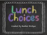 Chalkboard theme: Lunch Choices