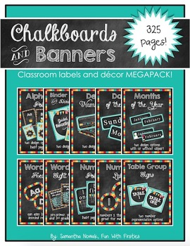 Chalkboards and Banners: cheerful classroom decor and labels