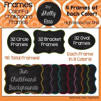 Chalkboard Frames - Colored Borders on Circle, Oval, & Bra