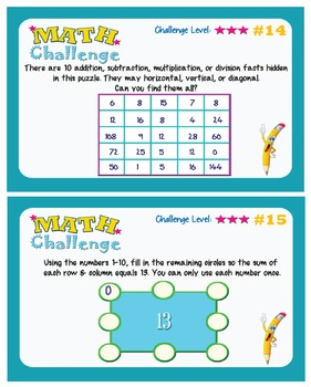 Challenge Cards | Flash Cards/Math Centers