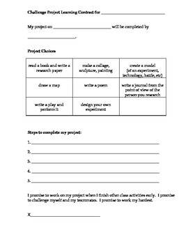 Challenge Project Learning Contract and Tracker