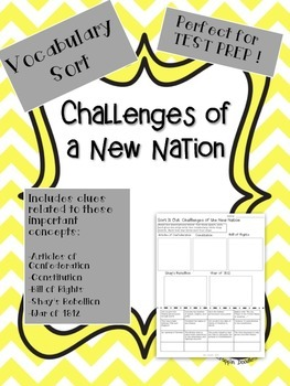 Challenges of a New Nation Vocabulary Sort: Constitution,
