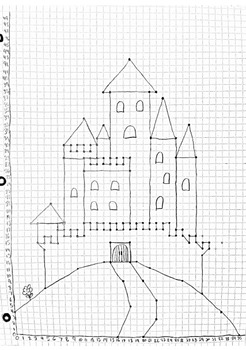 Challenging Coordinate Graphing Picture in Quadrant I (Castle)